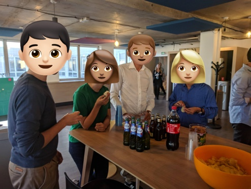 Unclickable picture of Withings designers and data analysts hanging out after work